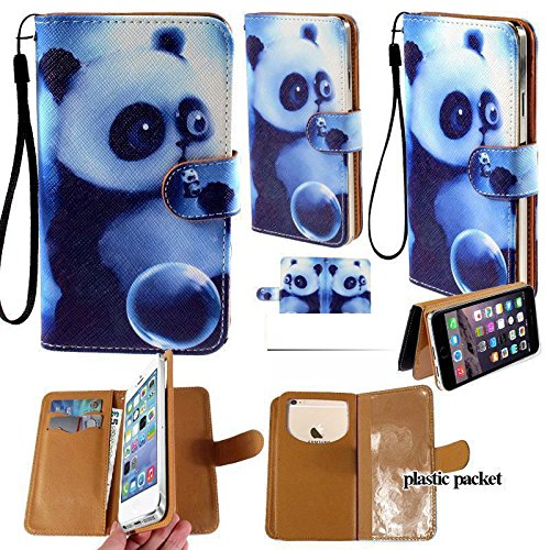 Universal PU Leather Purse/Clutch/Pouch/Wallet Fits Apple Samsung LG Motorola etc. Women's Cute Wristlet Strap Flip Case Cute Panda - Medium. Fits The Models Below: ()