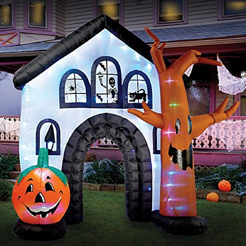 Halloween Inflatable 9ft. Haunted House With LED Color Changing Lights