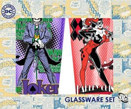 DC Comics Batman Villains (The Joker and Harley Quinn) 2-Pack Pub Set Colored Glass (with Gift Box)