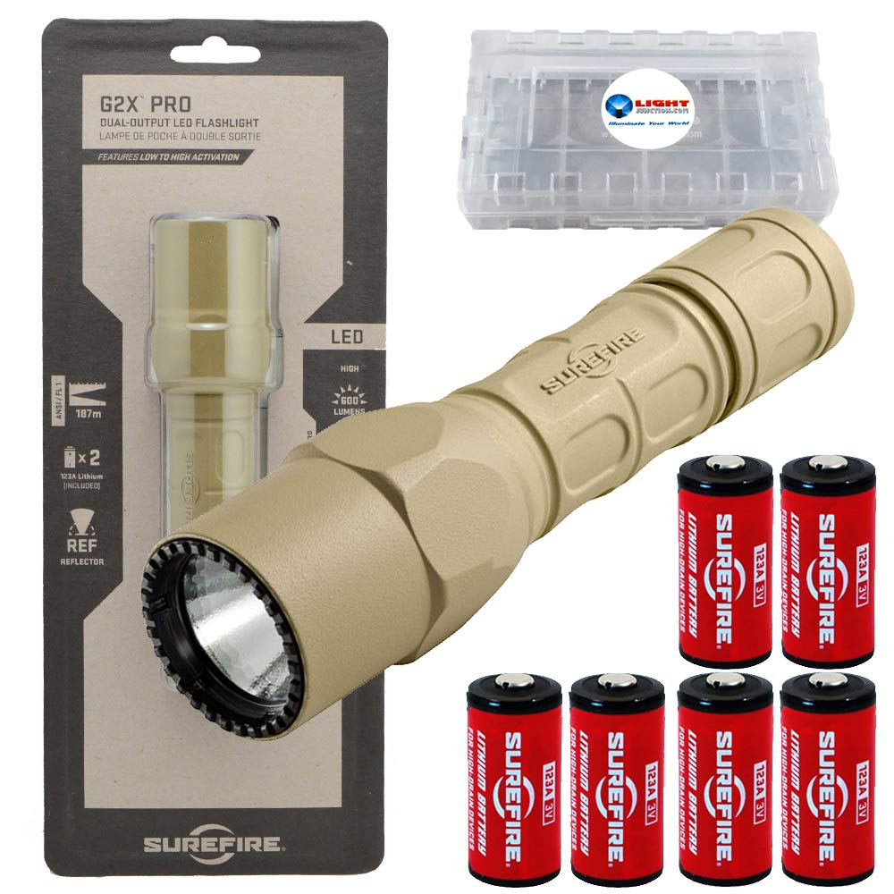SureFire G2X Pro 600 Lumen Tactical EDC Flashlight Bundle with 4 Extra CR123A Batteries and Lightjunction Battery Case (Tan)