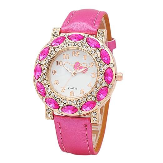 Modificable Reloj de Niño con Hello Kitty diseño Adorable Dibujos Reloj Niña Digital (Rosa Fuerte