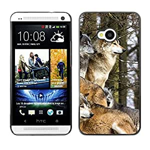Design for Girls Plastic Cover Case FOR HTC One M7 Wolf Pack Winter Canine Animals Nature OBBA
