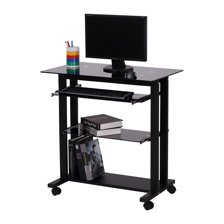 Generic NV_1008004611-QYUS484611 Top PC r Workst Desk Glass Computer Wo Computer Workstation Laptop op Desk Stand Wheels Wheels Desk Table e Stand Wheels by Generic (Image #2)
