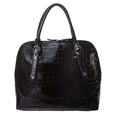 hermes replica - Amazon.com: FASH Glossy Crocodile Print Embossed Satchel Style Top ...