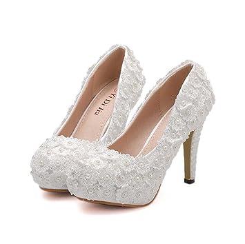 MHX Señoras Plataforma Impermeable Tacones Altos Boca Baja Zapatos Redondos de la Perla Zapatos de la