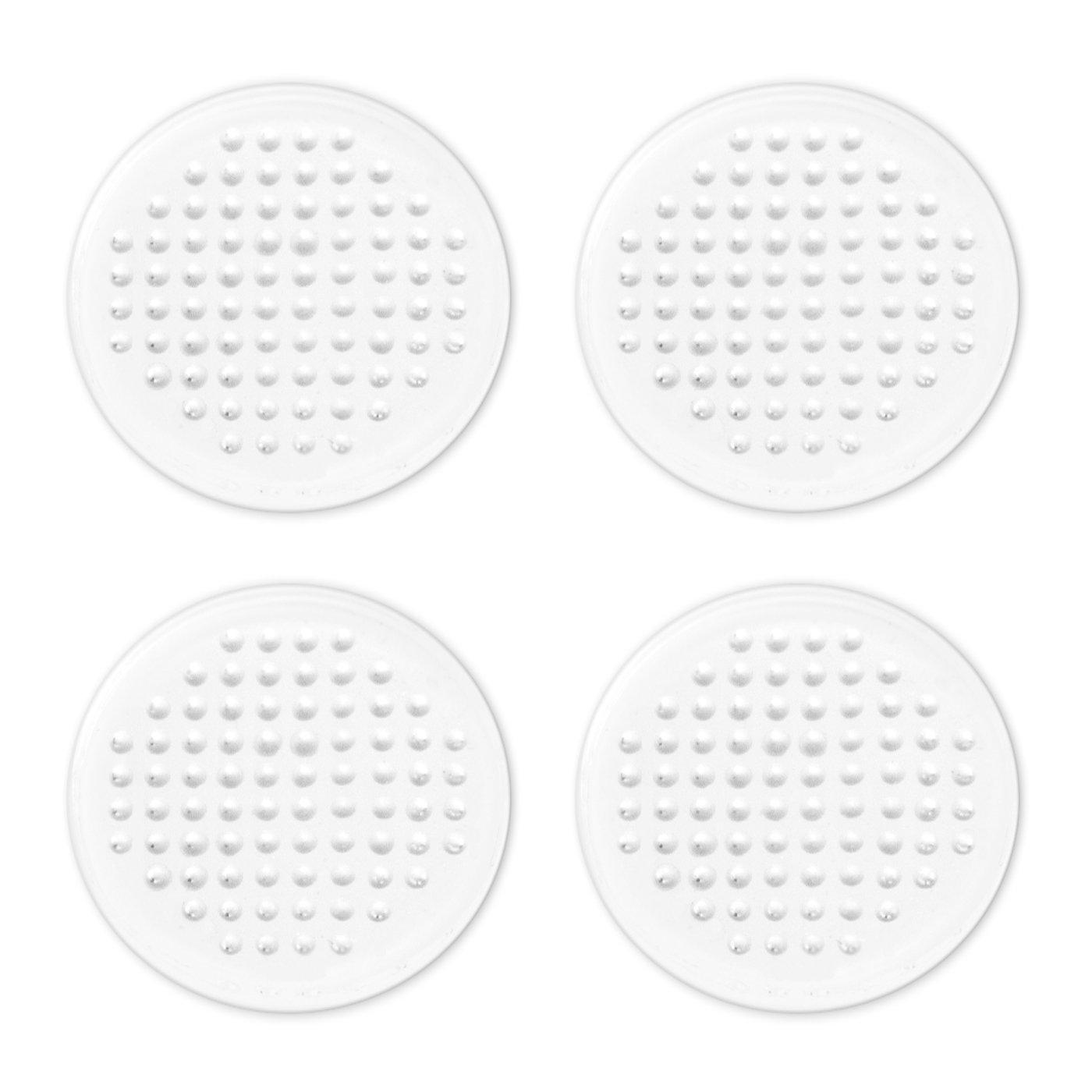 4 Bollini Adesivi Antiscivolo Trasparenti in Silicone | Removibili e Riutilizzabili | Pad Antisdrucciolo | Diametro 3cm | H 2mm | Feltrini By Haftplus