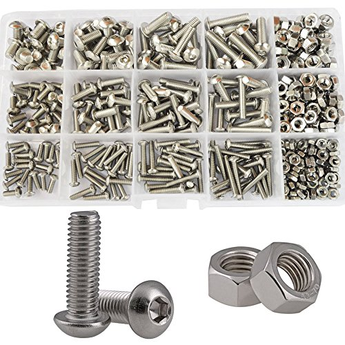 Button Head Hex Socket Cap Bolts Screws Nuts Metric Allen Drive Assortment Kit,434Pcs 304Stainless Steel M3 M4 M5