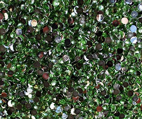 "100% Custom Made (5mm) 1000 Bulk Pieces of Mini Size ""Glue-On"" Flatback Embellishments for Decorating, Made of Acrylic Resin w/ Shiny Iridescent Crafting Rhinestone Crystal Forest Gem Style {Green}"