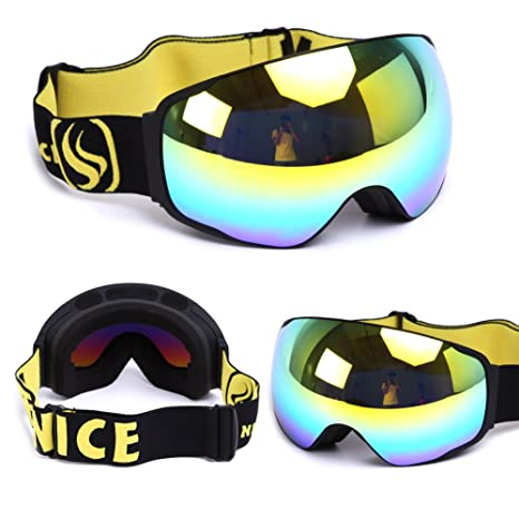 d0d9cc63e22 Amazon.com   BENICE Snowboard Skate Ski Goggles with Wide Angle Double Lens  Anti-fog UV400 Big Spherical Professional Snow goggles Unisex Six colors ...