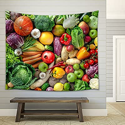 Assortment of Fresh Fruits and Vegetables Fabric Wall - Tapestry