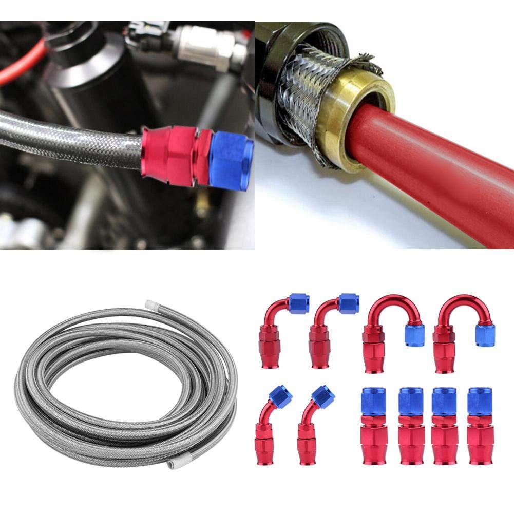 Kit de accesorios AN6 l/ínea de manguera de combustible de gasolina y aceite trenzado de acero inoxidable Kit de accesorios finales de 20 pies