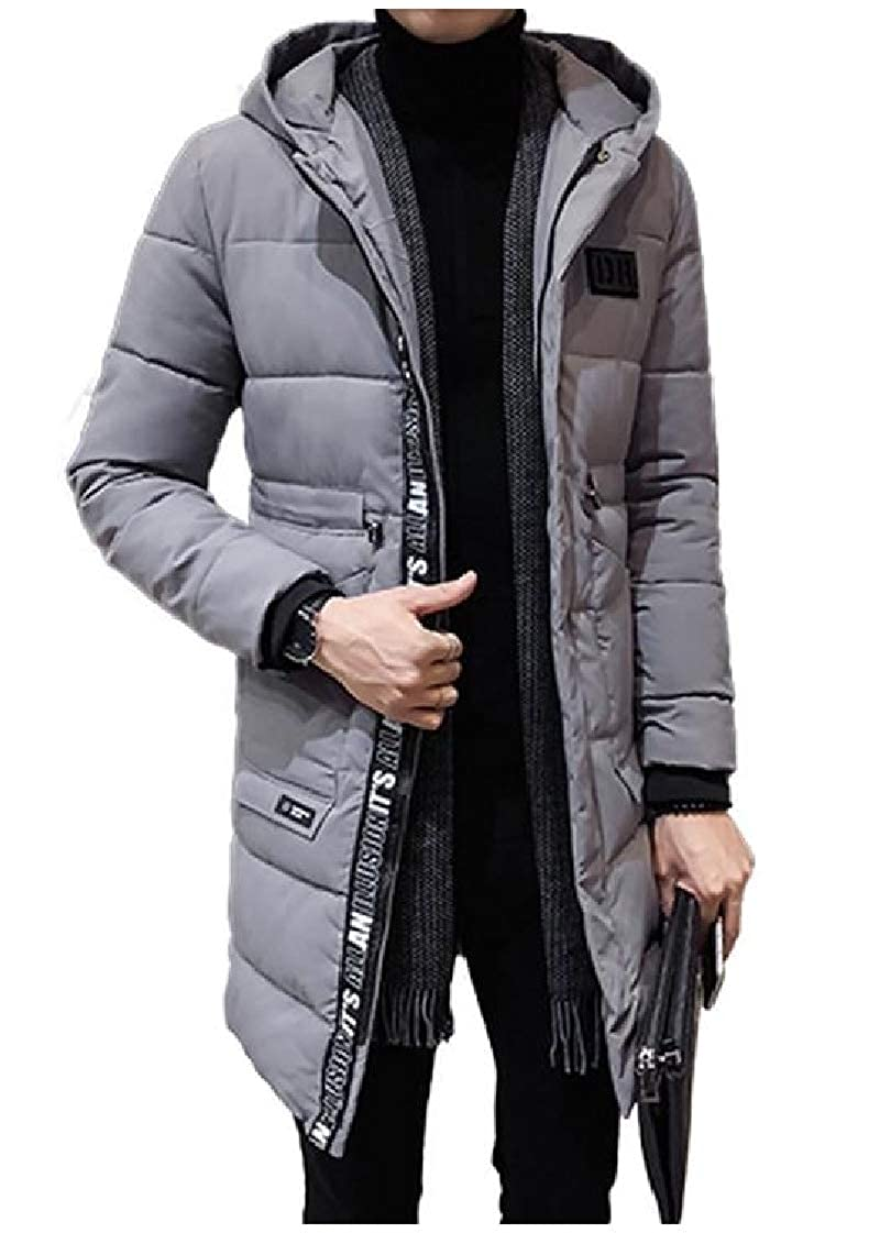 CrazyDay Mens Quilted Mid-Long Thicken Hooded Autumn Winter Puffer Down Coat