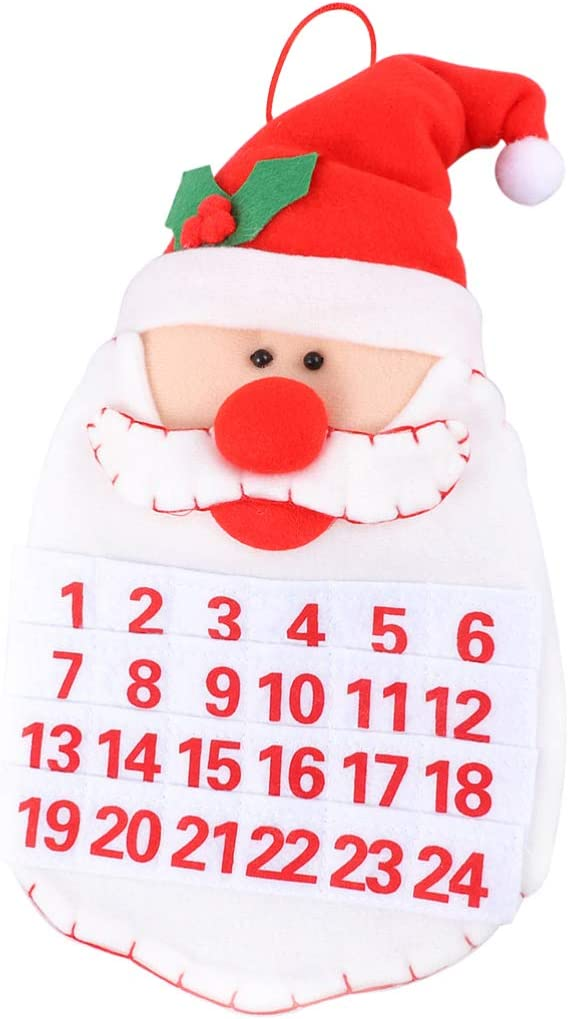 Non-Woven Fabrics Santa Countdown Calendar Room Door Hanging Calenders Party Supply Wall Window Calender for Office Party 2Pc NUOBESTY Christmas Advent Calendar