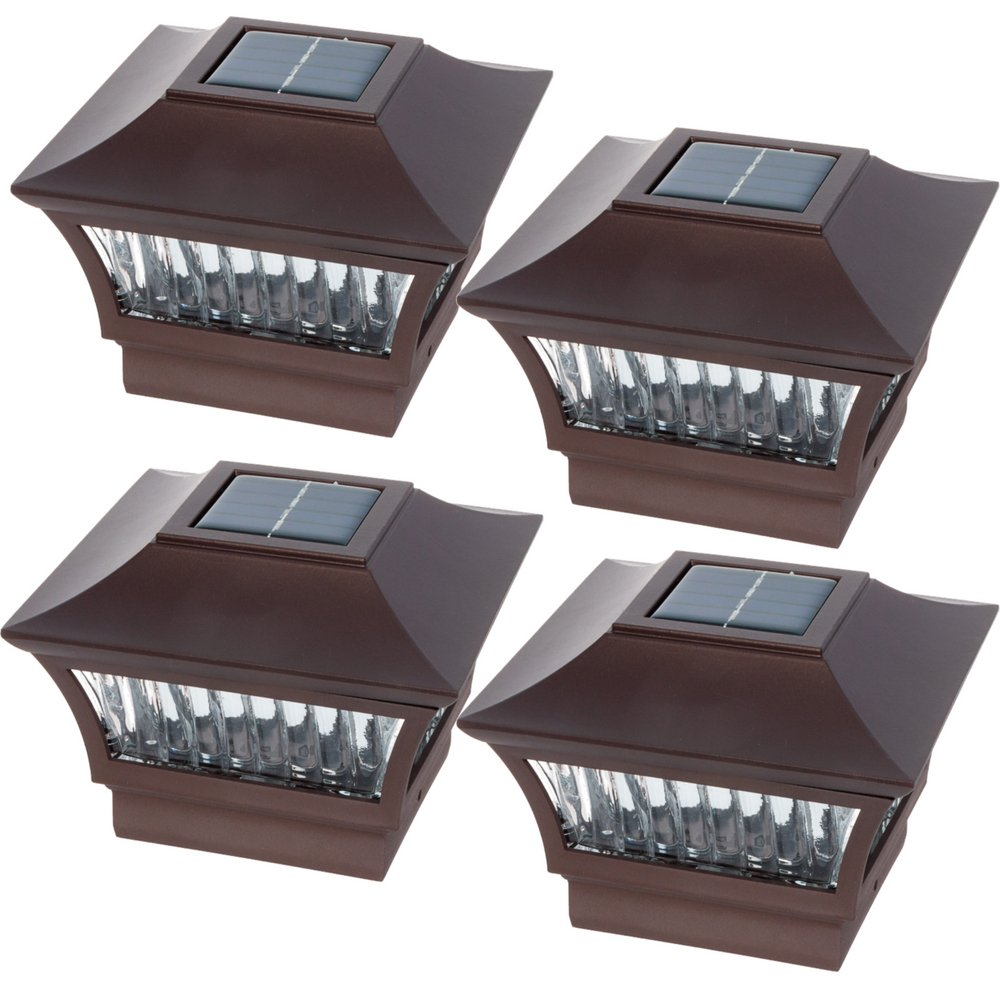 GreenLighting Bronze Aluminum 4x4 Solar Post Cap Light - Wood/PVC Posts (4 Pack)