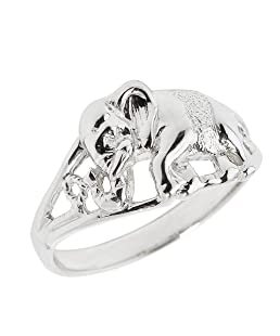 925 Sterling Silver Open Design Indian Elephant Ring (Size 9.75)