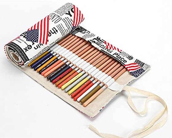 Estuche escolar para lápices de color y fieltro, neceser rodillo en lienzo bolsa de lápiz con gran capacidad Imprimé para Ecole escritorio talla única 48 trous: Amazon.es: Hogar