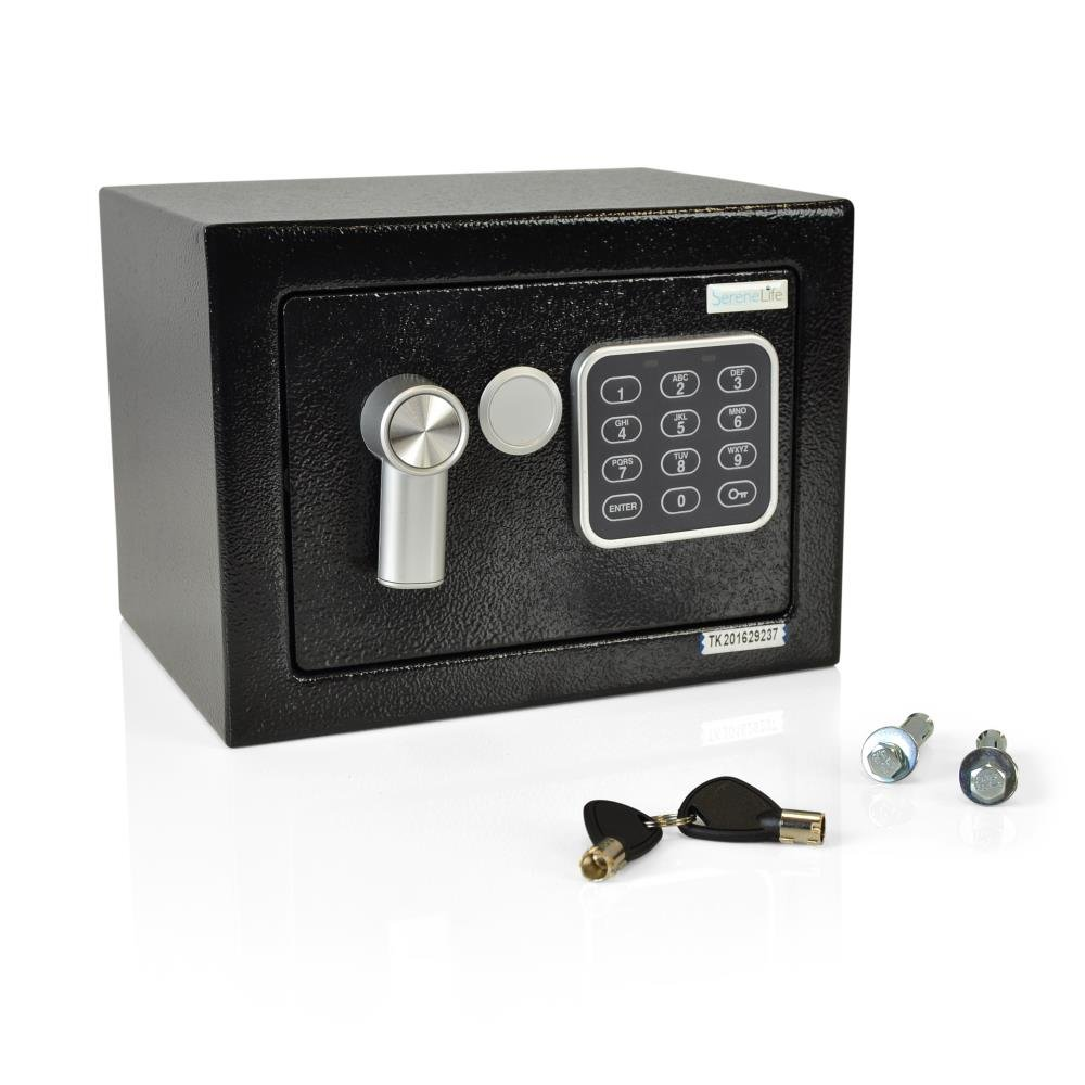 SereneLife Fireproof Lock Box, Fireproof Box, Safe, Safes, Safe Box, Safes And Lock Boxes, Money Box, Fire Proof Safety Boxes for Home, Digital Safe Box, Steel Alloy Drop Safe, Includes Keys (SLSFE12)