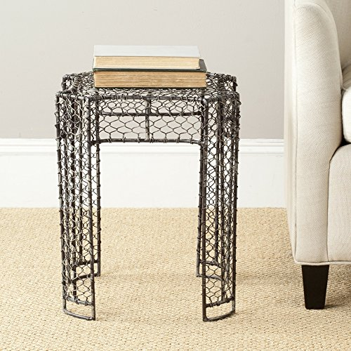 - Safavieh Dmitri Steelworks Iron Links Side Table, Brown