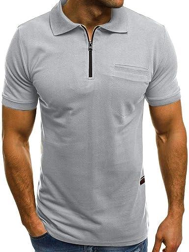 Camisa de Manga Corta Hombre 2019 Moda SHOBDW Color Sólido Blusa Slim Fit Cuello Mao Cremallera Abanderado Camisetas Hombre Basicas: Amazon.es: Ropa y accesorios
