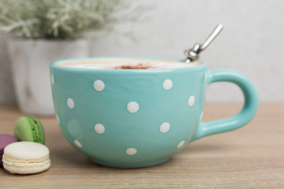Tea Soup Mug City to Cottage Handmade Ceramic Designer Teal Blue and White Polka Dot Cup Unique Extra Large 17.5oz//500ml Pottery Cappuccino Coffee Housewarming Gift for Tea Lovers
