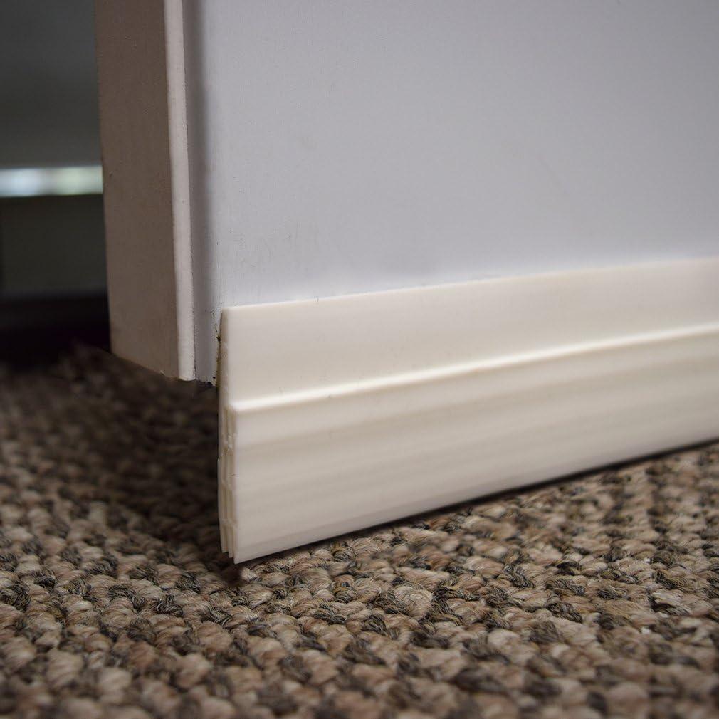 Draft Stopper /& Sound Blocker Weather Stripping 2 Width x 39 Length White Door Sweep