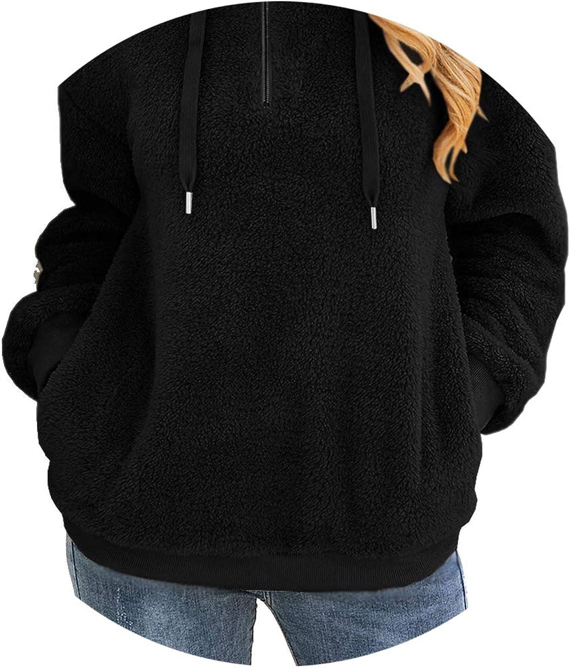 Voopptaw Womens Warm Zip up Fleece Hoodie Fluffy Jumper Sweatshirt with Pockets Black