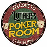 Great American Memories Luther's Poker Room 14'' Round Metal Sign Kitchen Bar Red Wall Décor MR14128318
