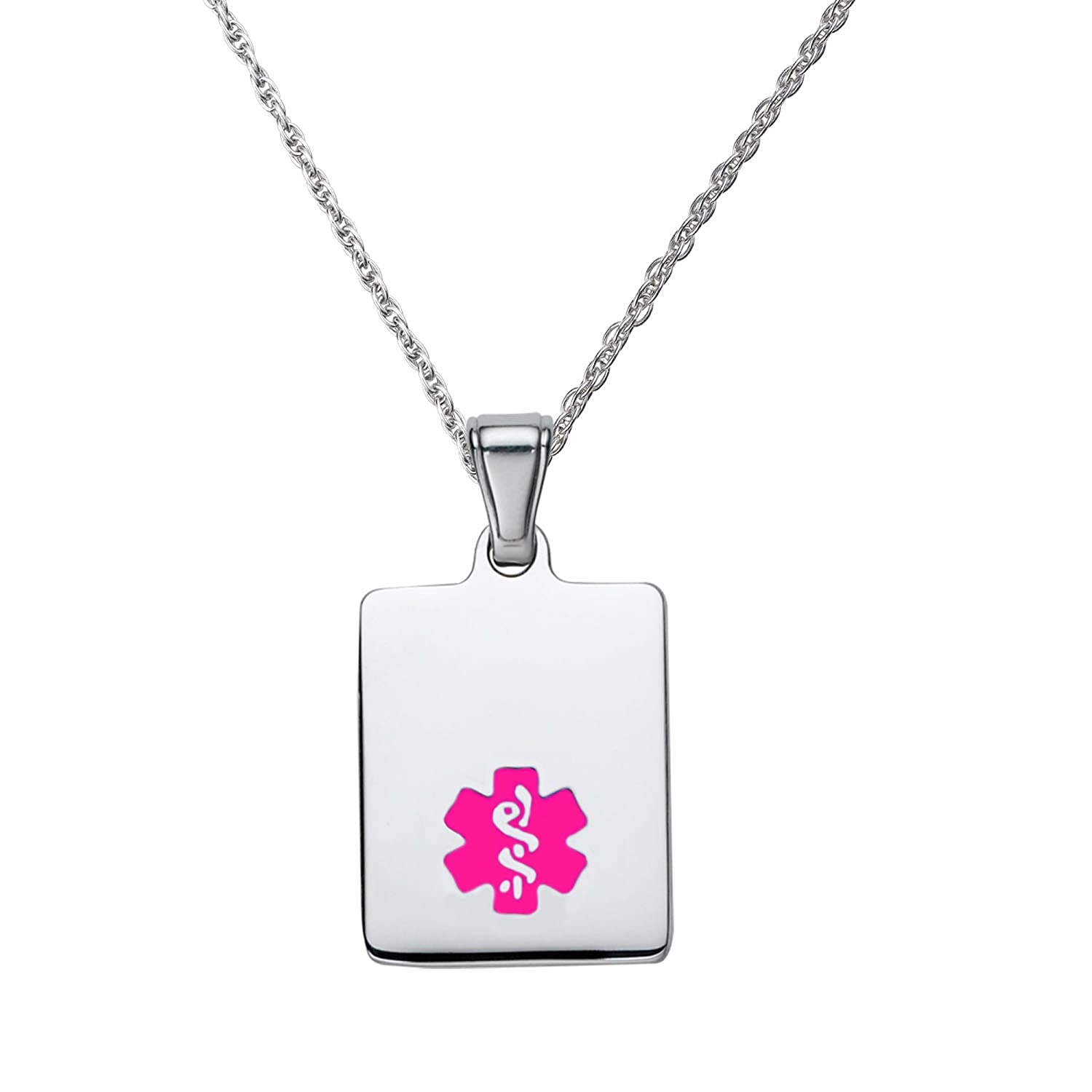 Chain 24//28 in Divoti Free Deep Custom Laser Engraved-316L Sleek Tag Medical Alert Necklace Medical Pendant Tag and Medical ID Necklace Women