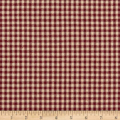 A.E. Nathan Homebas Homespun Medium Check Fabric, Burgundy, Fabric By The Yard