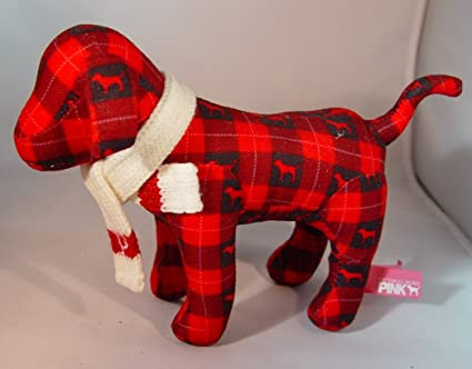 Amazon Com Victoria S Secret Red Plaid Plush Dog With Knit Scarf