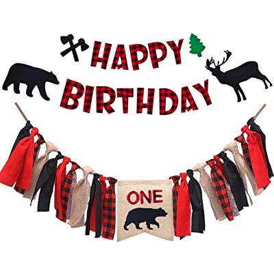 Lumberjack First Birthday Decorations, Lumberjack Bear One Highchair Banner with Lumberjack Happy Birthday Banner for Lumberjack theme 1st birthday party supplies: Toys & Games