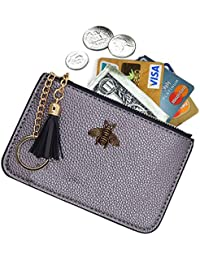 ae8d263485f Women s Coin Purse Change Wallet Pouch Leather Card Holder with Key Chain  Tassel Zip
