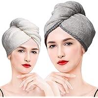 LEARJA Juego de 2 toallas de microfibra para el cabello, toallas de pelo de secado rápido, toallas de pelo para mujer…