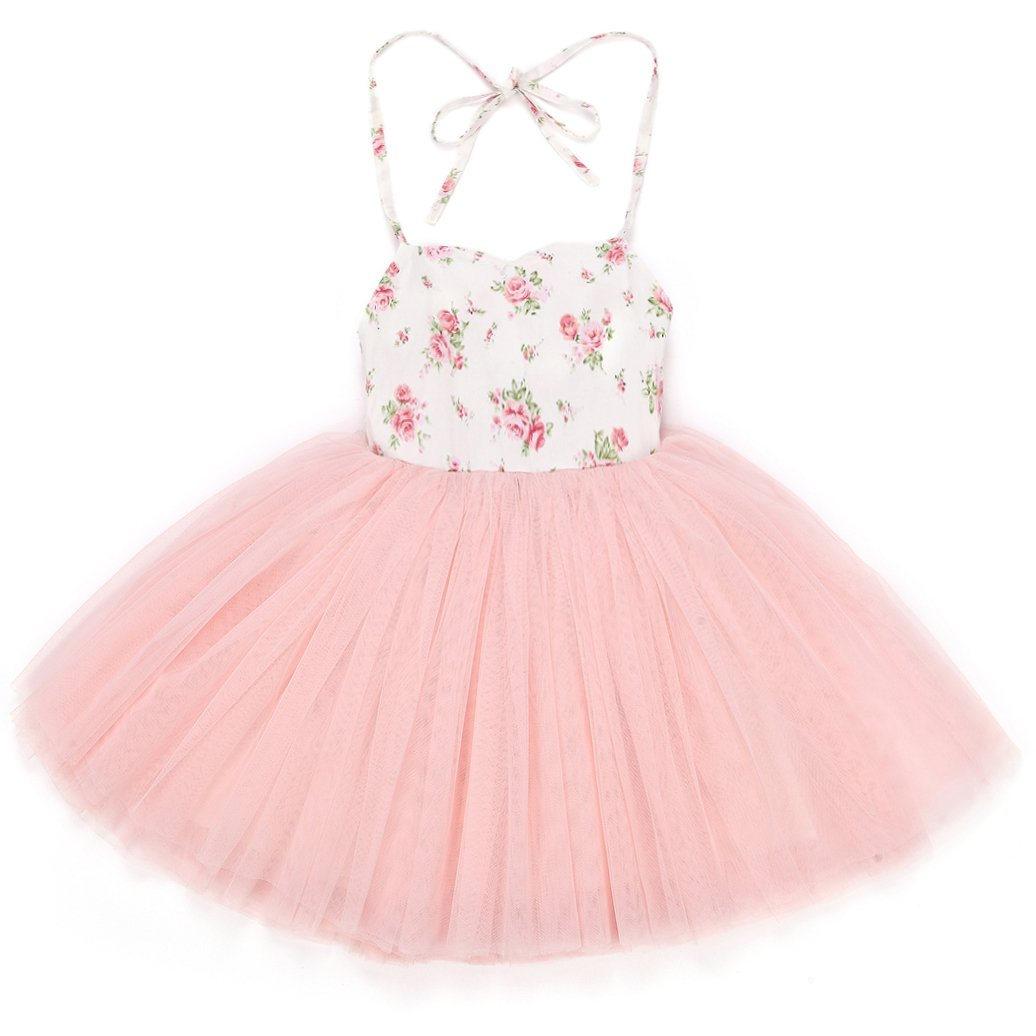 Flofallzique Pink Tutu Baby Girls Dress Wedding Party Toddler Dress Tulle Birthday Christening Baby Clothes(0)