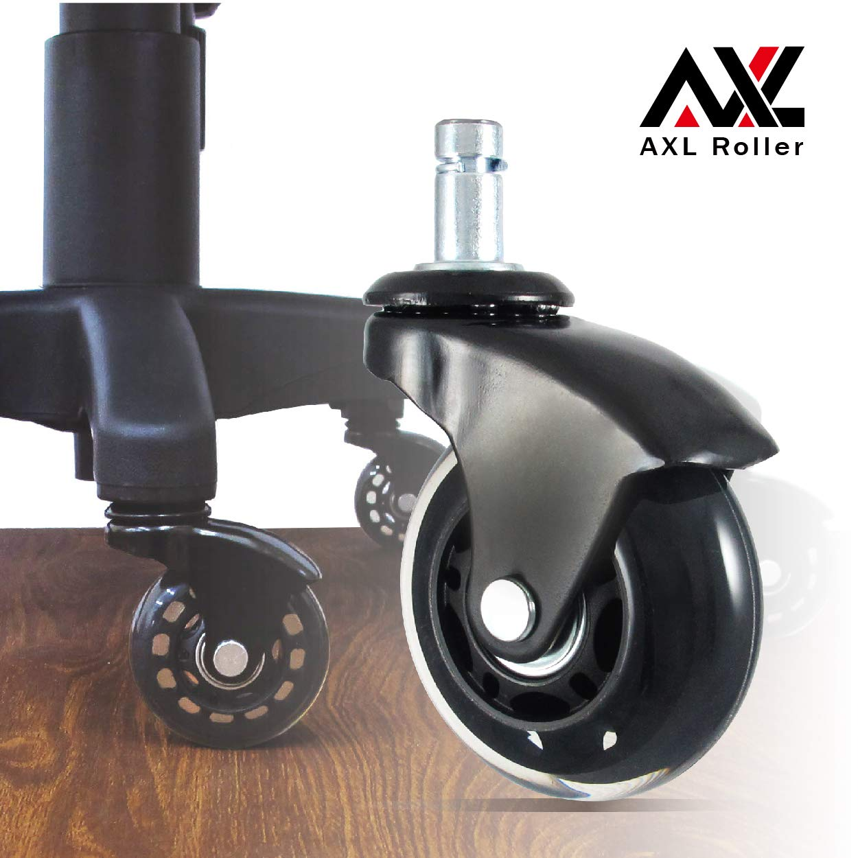AXL 2.5 Inch Office Chair Caster Wheels Replacement, PU Style Caster, Desk Chair Floor Protector, No Noise, Heavy Duty Casters for Hardwood Floors (Black/Clear), Set of 5
