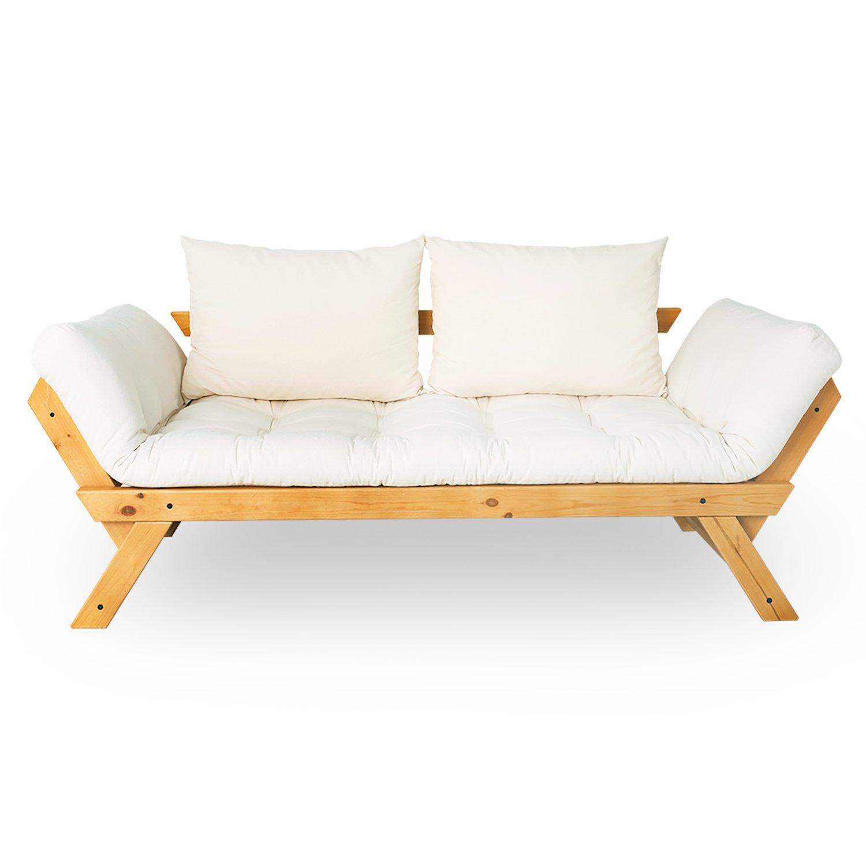 LOWYA (ロウヤ) ソファ ソファーベッド 2人掛け 北欧デザイン リクライニング 天然木フレーム ハニー×キャンバス おしゃれ 新生活 フレーム:ハニー キャンバス B00QK714GQ