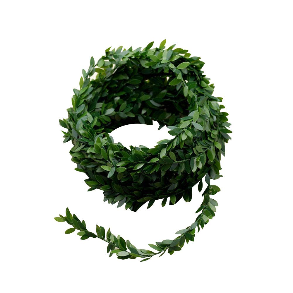 Yamalans 7.5M Artificial Green Leaves Vine Wreath Rattan Christmas Wreath Reusable Garland DIY Hairband Party Decor Green