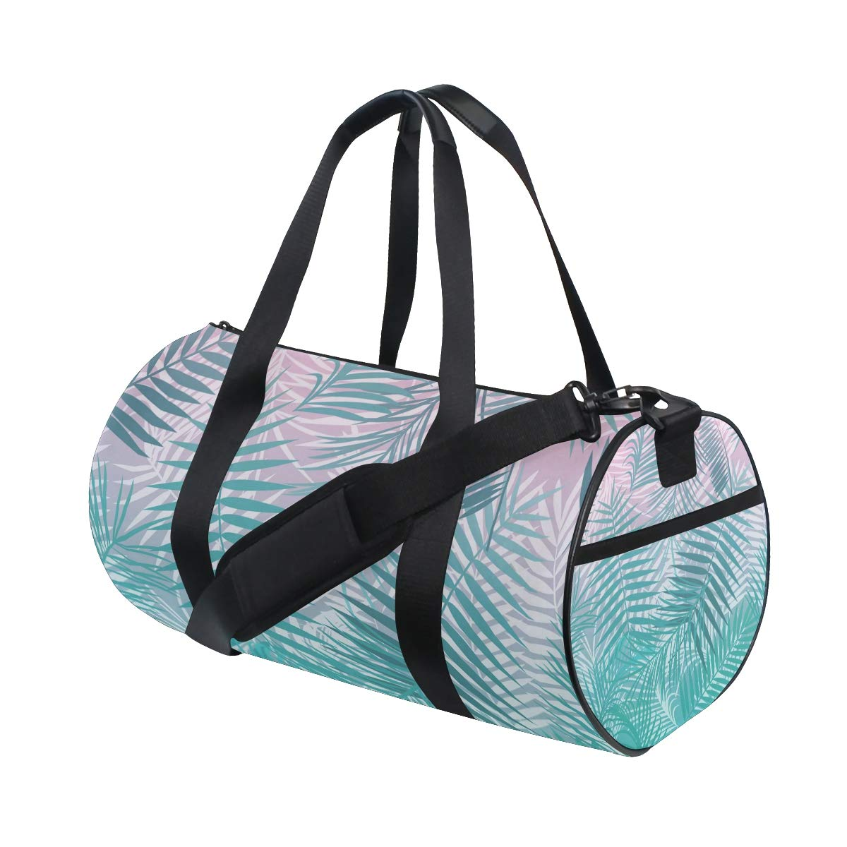 Pink Teal Fine Leaves Sports Luggage Duffel Bag Lightweight Gym Sports Shoulder Bag for Vocation Hiking, Camping