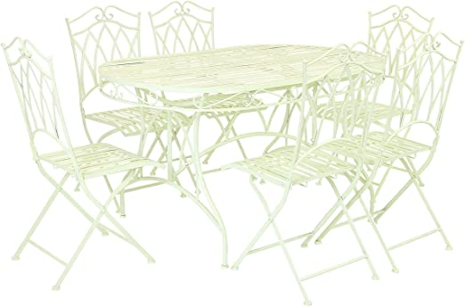 Bentley Garden - Salon de jardin avec table et 6 chaises - fer forgé -  disponible en vert ou bleu - Vert