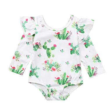 f4915976d366 Image Unavailable. Image not available for. Color  Gornorriss Baby Rompers  Infant Toddler Cactus Print Ruffles Bodysuit Outfits White