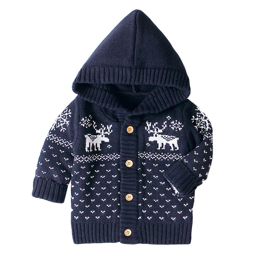 AMIYAN Baby Girls Cardigan Newborn Hooded Coat Autumn Winter Hooded Jacket with Deer Norwegian Pattern Sweatshirt Tops Outwear 0-18 Months