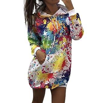 Nueva Moda Mujer Color Teñido Lazo Pintura En Aerosol LILICAT Sudadera Camisa Con Capucha Abrigo Camisa