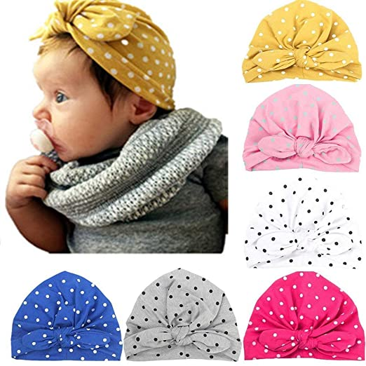aff2747b865 Ademoo Baby Girls Newborn Beanie Hats Knotted Rabbit Ear Style Turban Caps (6  Pack)