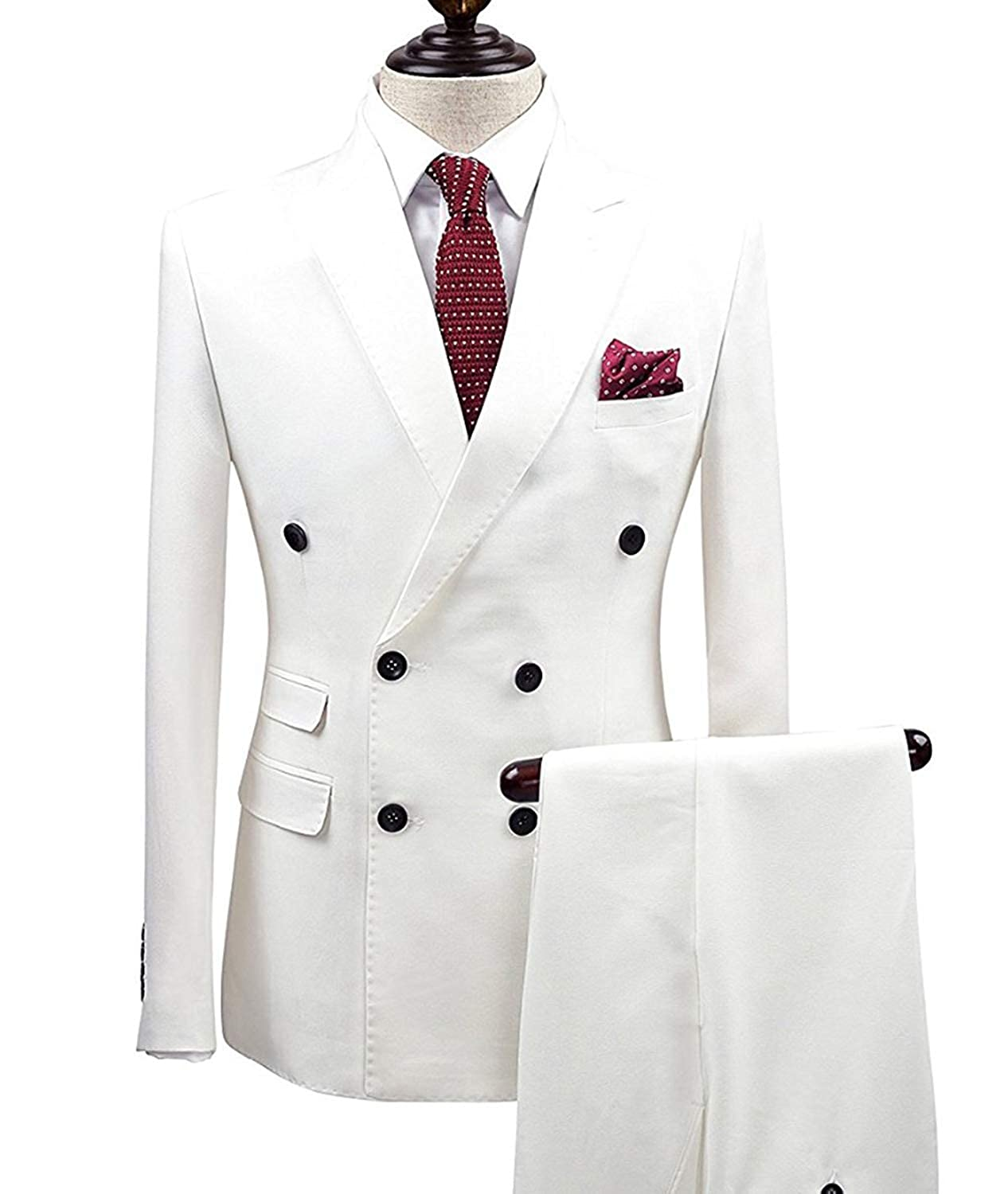 LoveeToo Men Suits White 2 Piece Double Breasted Blazer Wedding Business Suits