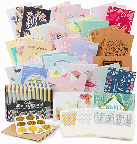 Cortesia All Occasion Premium Greeting Cards Assortment - 40 UNIQUE DESIGNS with GOLD and SILVER EMBELLISHMENTS, Box set incl. Natural Linen Color Envelopes with Printed Patterns and Kraft Paper Cards -