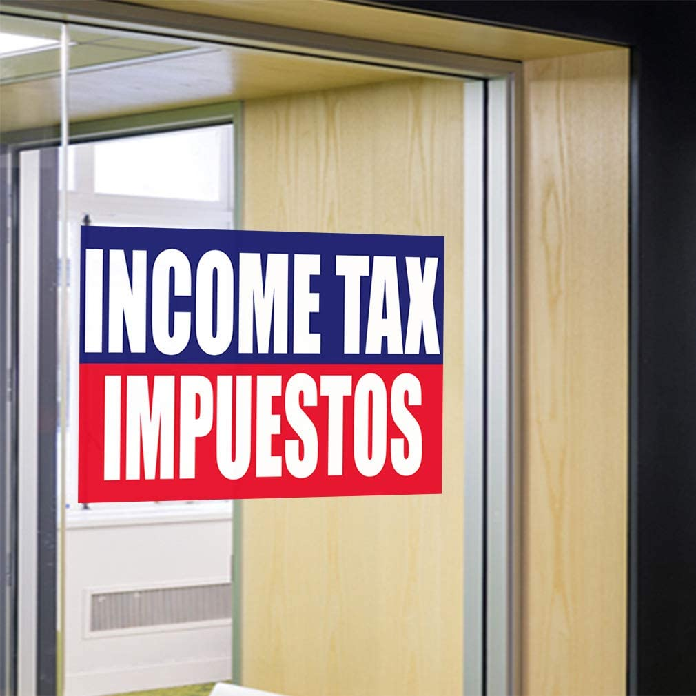 27inx18in Set of 5 Decal Sticker Multiple Sizes File Your Tax Return Here Irs Business Business Business Tax Return Outdoor Store Sign Blue