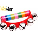 WeiMay Wooden Tambourine Handbell Baby Kids Early Educational Toys Games Christmas Round Hand Shaking Jingle Bell Musical Instrument for Baby Toddlers Over 6 Months(Random Color)