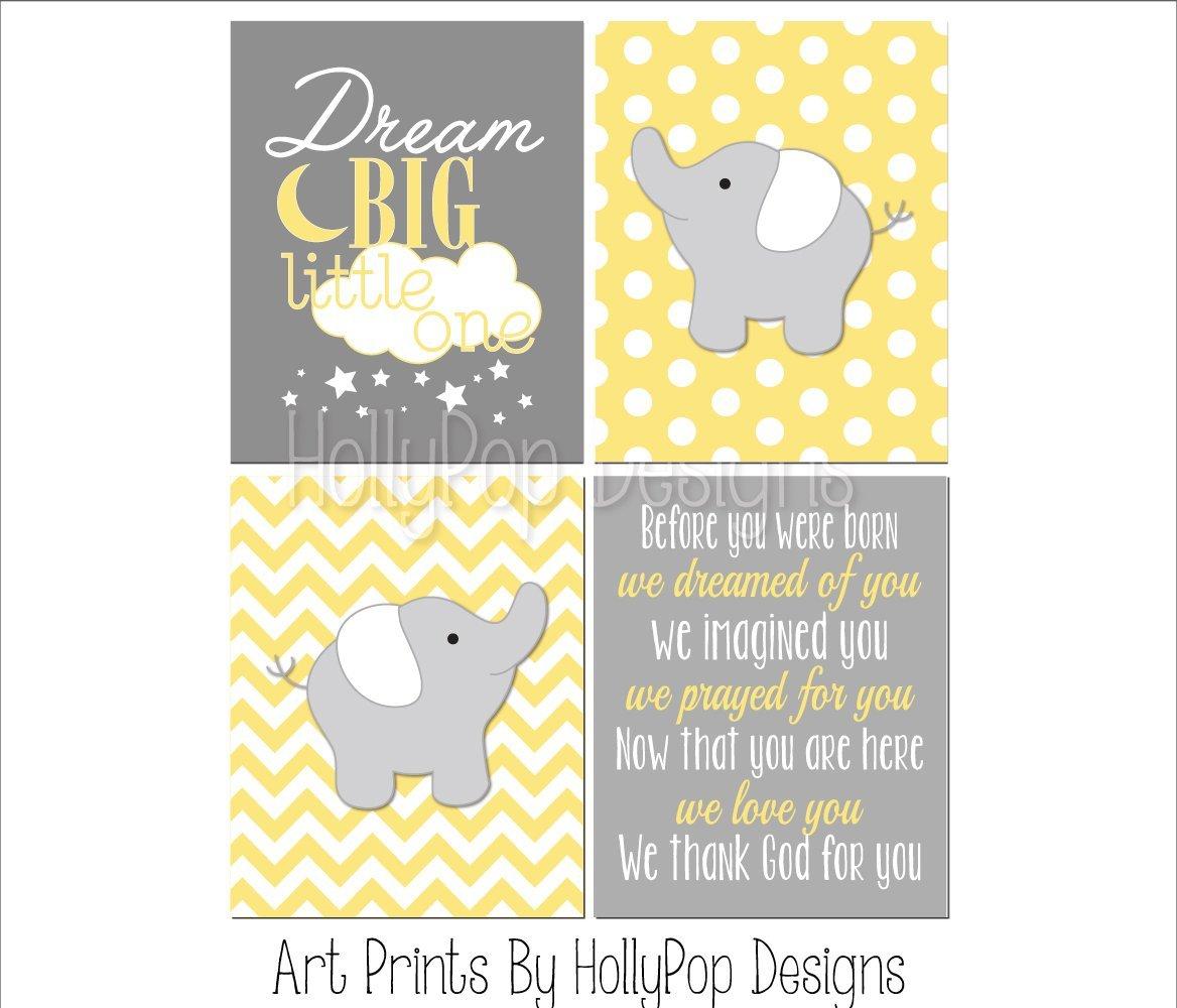 Amazon.com: Yellow gray nursery decor - Yellow elephant wall art ...