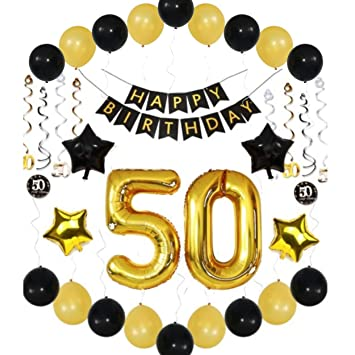 50th Birthday Decorations For Men Balloons Party Ideas Him Her Women 36 Piece Set