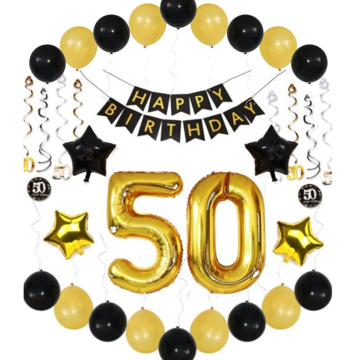 50th Birthday Party Decorations Men Woman Him Her Banner Balloons Sparkling Hanging Swirls